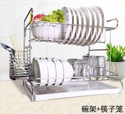 China Stainless Steel Dish Drainer Kitchen Wire Baskets With Cutting Board Holder 2 Tier supplier