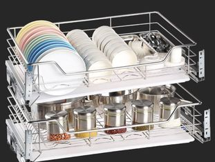 China Space Saver Pull Out Storage Baskets / Silver Pull Out Baskets For Kitchen Cabinets supplier