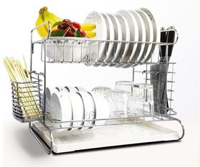 China 2 Tier Easy Install Kitchen Storage Racks / Cutting Board Holder With Removable Drain Board supplier
