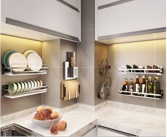 China Non Extendable Wire Racks For Kitchen Cabinets , Corner Kitchen Rack With Rollers supplier