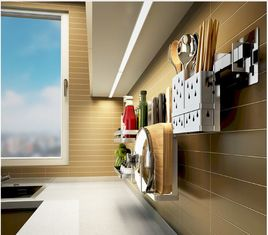 China Anti Bent Stainless Steel Wall Spice Rack Brushed Silver Color Easy Installation supplier