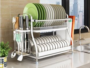 China Dish Drainer Drying Stainless Steel Storage Racks On Wheels With Cutlery Holder And Cup Holder supplier