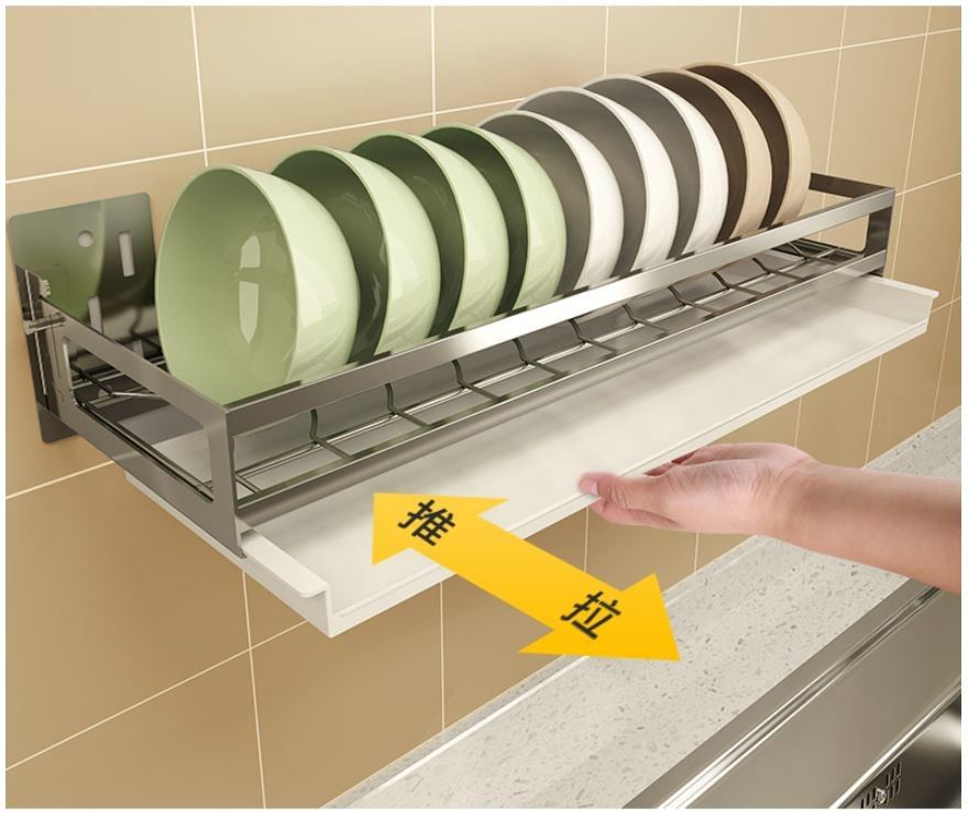 Wall Mounted Kitchen Tray Rack 5cm Guardrail With Drain ...