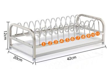 China 1-Tier Standing Dish Drying Rack , Countertop Storage Kitchen Dish Racks factory