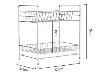 China Double Tier Kitchen Dish Drying Shelf With Cutlery Holder And Chopstick Holder distributor