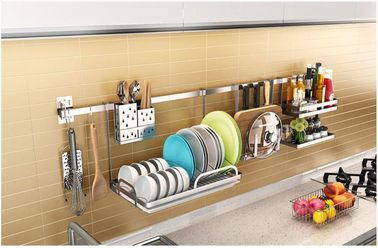 China Dish Drying Sticking Stainless Steel Dish Drainer With Utensil Holder distributor