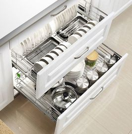 China Mount Inside Cabinet Slide Out Baskets , Metal Wire Kitchen Cabinet Baskets factory