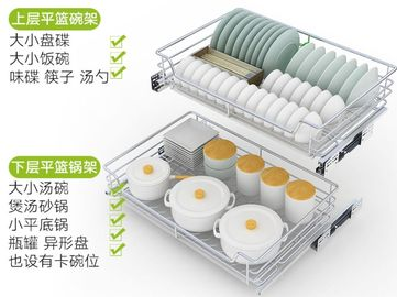 China Soft - Closing Sliding Kitchen Pull Out Basket Powder Coating With Customized Color distributor