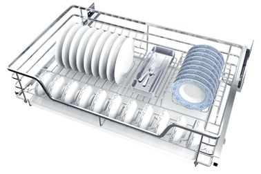 China 2 Tier Silver Kitchen Pull Out Basket With Damping Mechanism In Rail distributor