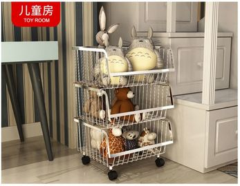 China Modern Stackable Metal Bin Basket  , Open Front Wire Storage Baskets distributor