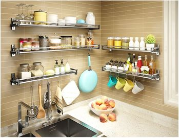 China Multi Function Wall Shelves For Kitchen Storage , Seasoning Kitchen Wall Hanging Rack factory