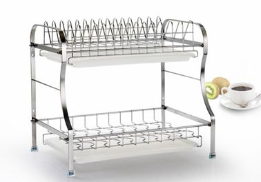 China Double Layer Stainless Steel Kitchen Rack Dryer Tray Holder Organizer Silver Color factory
