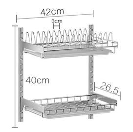 China Two Tier Draining Rustless Stainless Steel Kitchen Rack With Chopstick Holder distributor