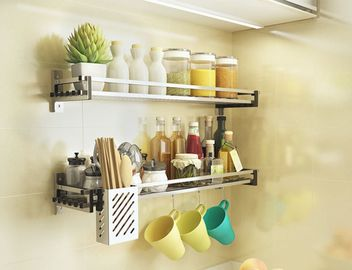 China Easy Cleaning Stainless Steel Spice Shelf , Nonstick Wall Hanging Spice Rack factory