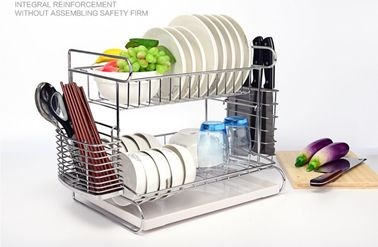 China 2 Tier Easy Install Kitchen Dish Drying Shelf With Removable Drain Board distributor