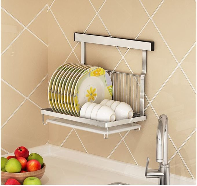 Dish And Bowl Wall Mounted Kitchen Storage Rack No Drilling Installation