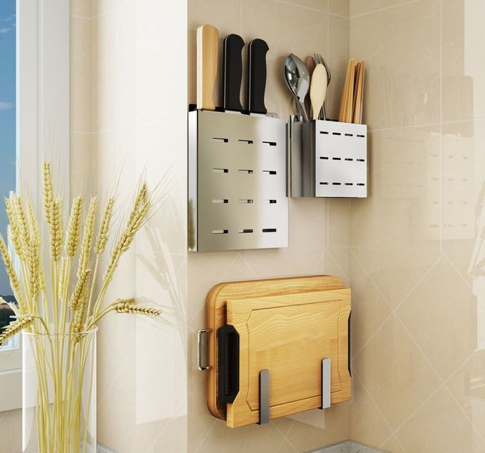 Ss Knife Storage Rack / Wall Mounted Kitchen Rack For Chopsticks Storage