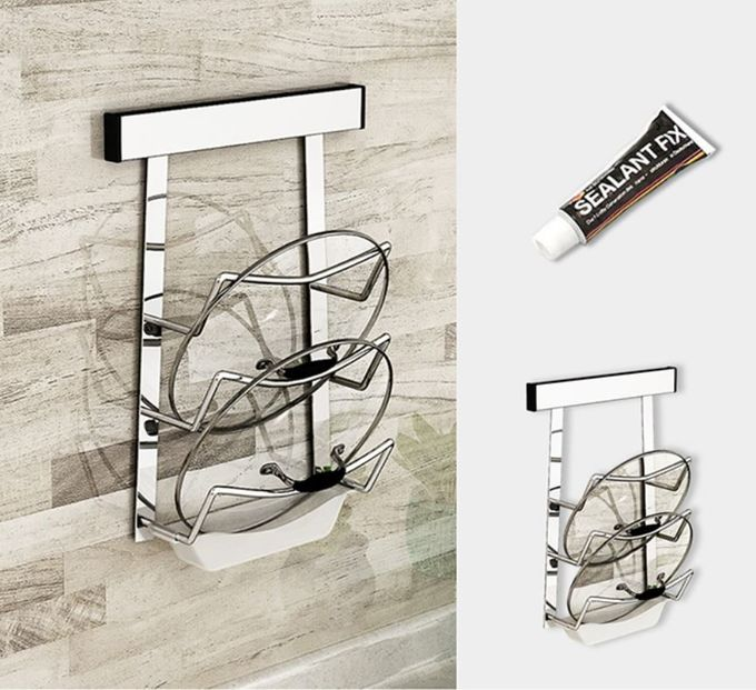 Simple Houseware Kitchen Plate Storage Rack , Wall Mounted Stainless Steel Rack For Dishes