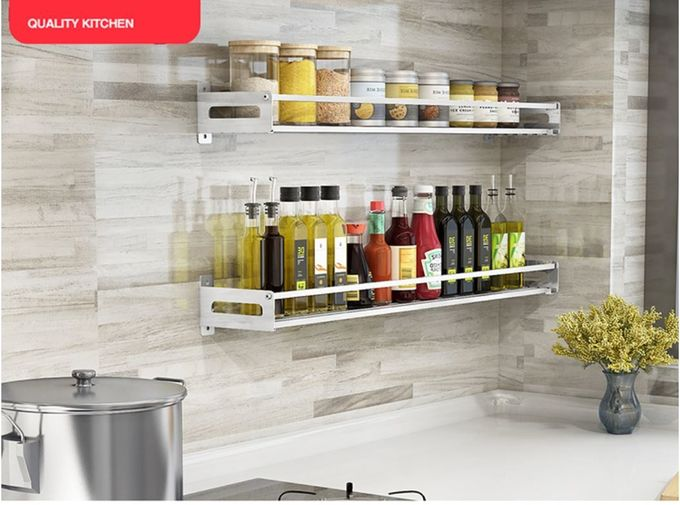 Single Layer Wall Mounted Kitchen Storage , Dish Organizer Rack With Falling Holder