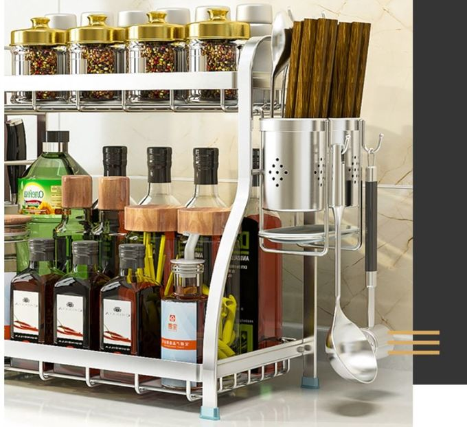 Standing Stainless Steel Spice Rack , Easy Clean Assemble Steel Spice Rack