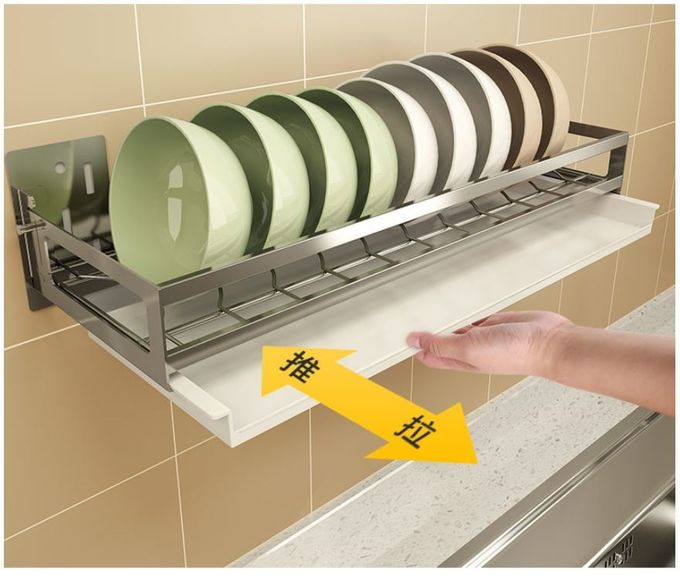 Wall Mounted Kitchen Organizer Rack Drain Board Dish Drainer For Kitchen Counter Large Capacity