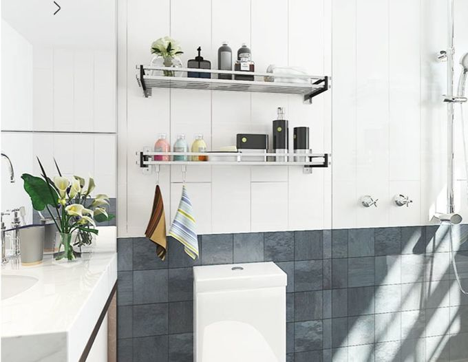 Efficient Space Saving Bathroom Storage Rack Fast Set - Up No Visible Connectors
