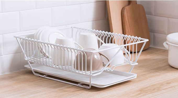 Antique Style White Stainless Steel Wire Basket Kitchen Multi Purpose Stand