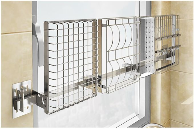 Chrome Home Storage Wall Mounted Kitchen Rack 2 Layers With Hook Organizer