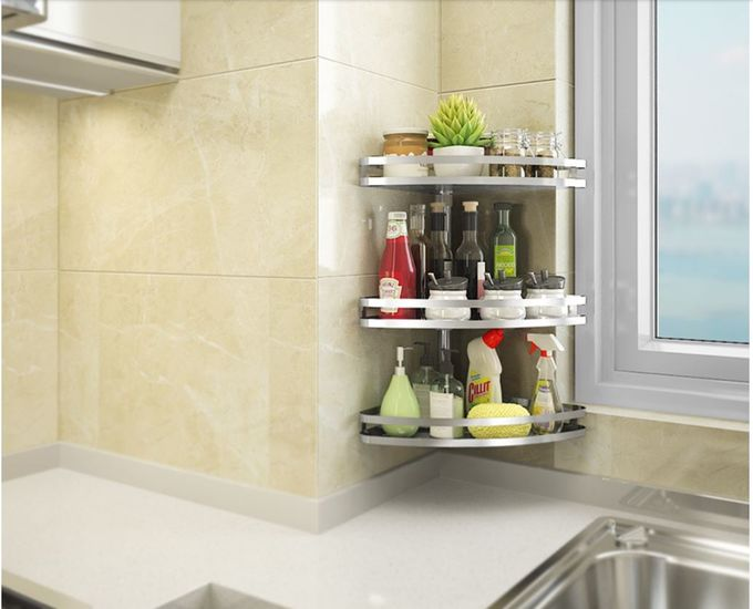 Wall Mounted Stainless Steel Kitchen Shelves , Adjustable Corner Kitchen Rack