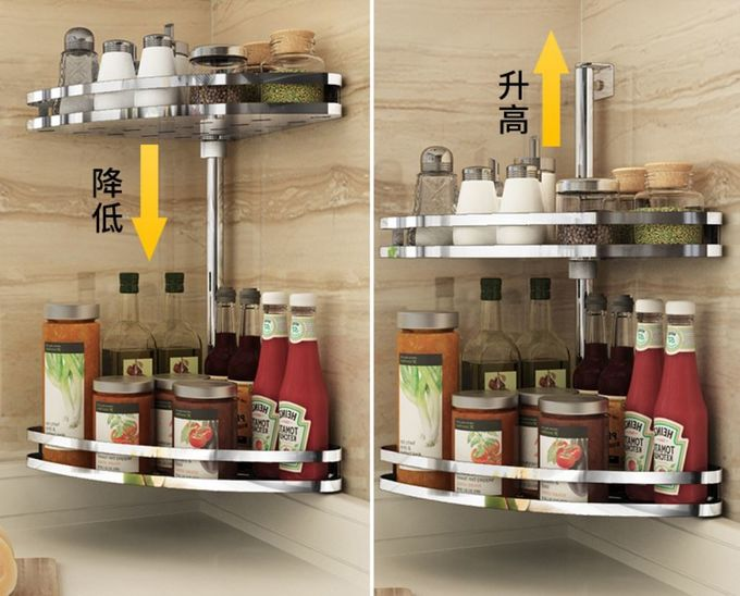 Wall Mounted Stainless Steel Kitchen Shelves , Adjustable ...