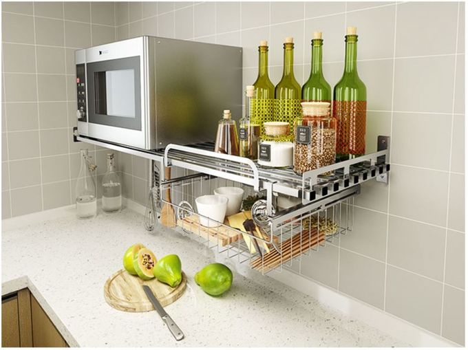 Office And More Floating Wall Mounted Kitchen Rack 304 Stainless Steel Material
