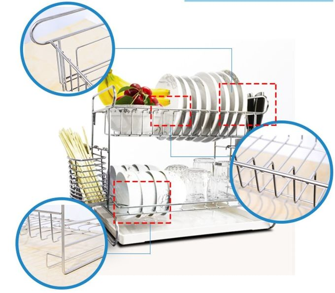 2 Tier Easy Install Kitchen Storage Racks / Cutting Board Holder With Removable Drain Board