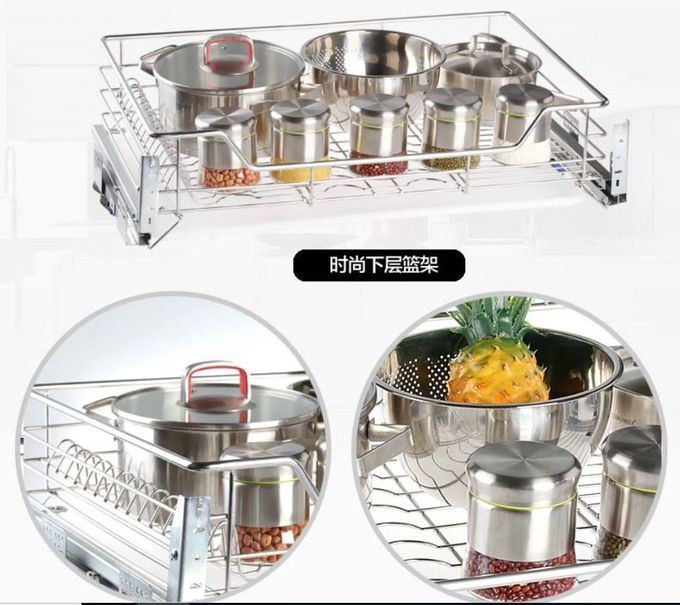 Space Saver Pull Out Storage Baskets / Silver Pull Out Baskets For Kitchen Cabinets