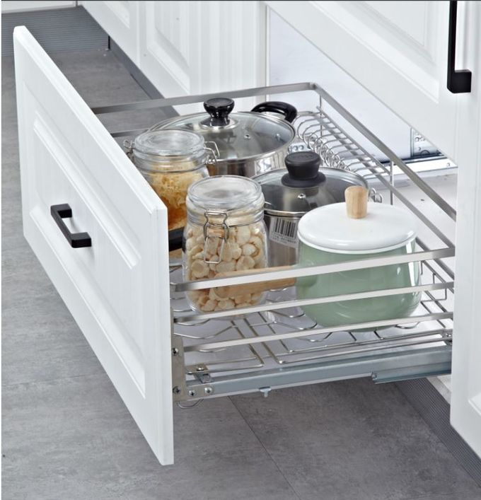 3 Sides Pull Out Wire Baskets , Stackable Design Sliding ...