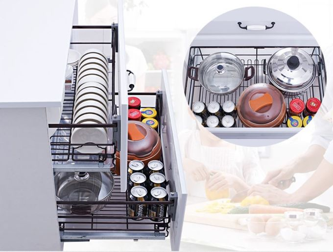Base Cabinet Kitchen Pull Out Basket Stainless Steel Material For Kitchen Tool Storage