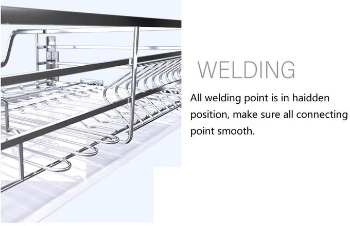 2 Tier Silver Kitchen Pull Out Basket With Damping Mechanism In Rail