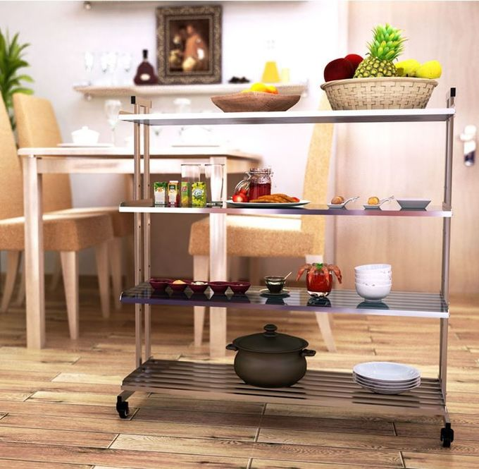 Flexible Wire Rack With Wheels , High Load Stainless Steel Kitchen Rack Shelf