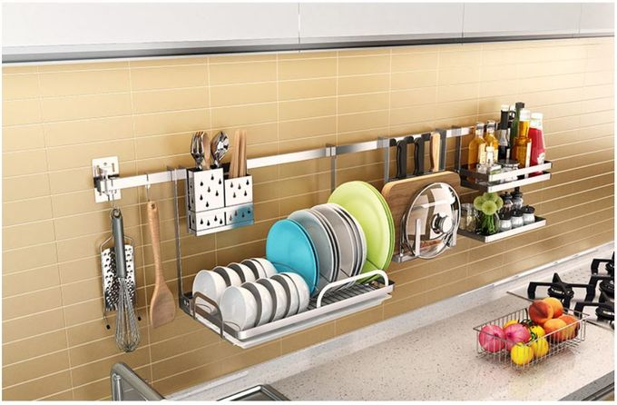 Anti Bent Stainless Steel Wall Spice Rack Brushed Silver Color Easy Installation