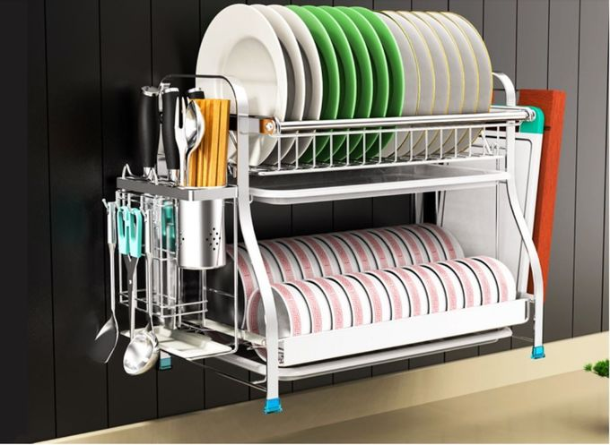Dish Drainer Drying Stainless Steel Storage Racks On Wheels With Cutlery Holder And Cup Holder