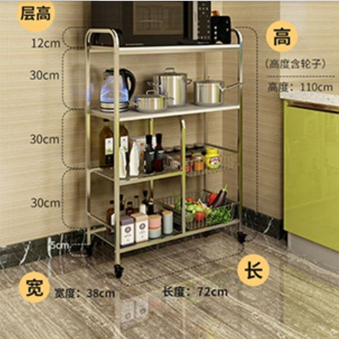 Kitchen Stainless Steel Storage Racks On Wheels Adjustable With 4-6 Tier